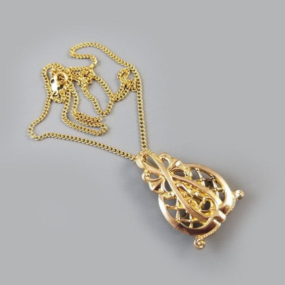 """Antique Edwardian gold filled ornate elongate lapel watch pin, hook back, with chain, pendant necklace, 18"""""""