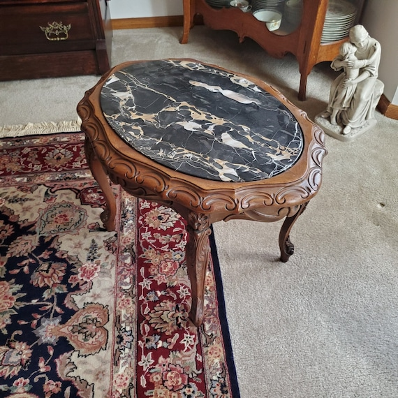 Small vintage 1930s maple wood black marble top side table, oak table, parlor, nightstand, night stand, NOT FREE SHIPPING