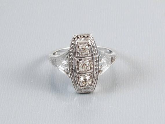 Art Deco three European cut .30 ct diamond 14k white gold ring, size 4-3/4 / bridal / wedding / vintage engagement ring /engagement ring