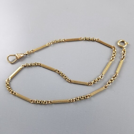 Antique Art Deco gold filled bar link pocket watch chain, signed Lestage Manufacturing Co., North Attleboro, Mass., 1920s, 13-3/4""