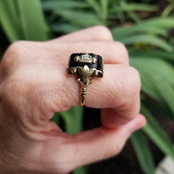 Vintage Art Deco 10k gold black onyx and diamond statement ring, maker signed JJ White, size 6-3/4