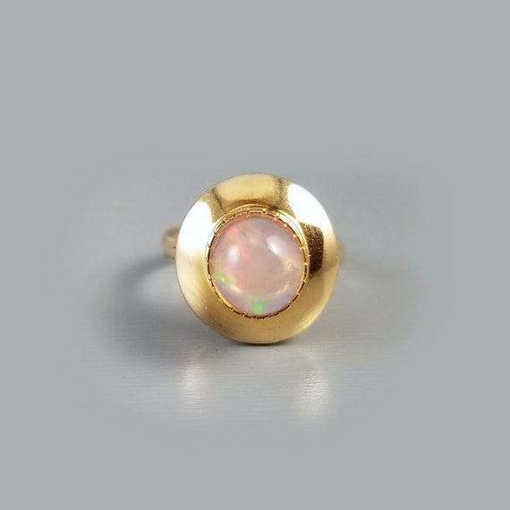 Vintage mid century 14k gold Mexican fire opal statement ring, size 7-3/4, jelly opal, halo ring, cocktail ring, organic