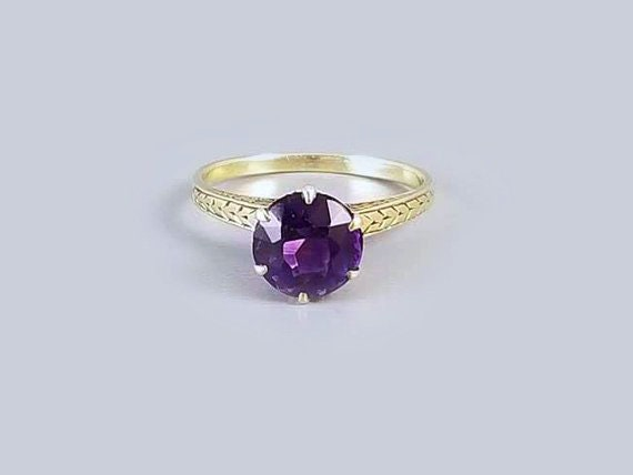 Antique early Art Deco 1920s 14k green gold purple amethyst solitaire ring / size 7-1/4