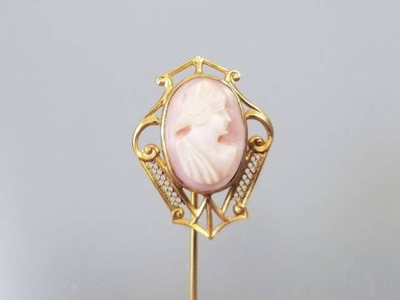 Antique Edwardian 10k gold filigree pink shell cameo stick pin, stickpin, lapel pin, tie pin, tie tack, brooch