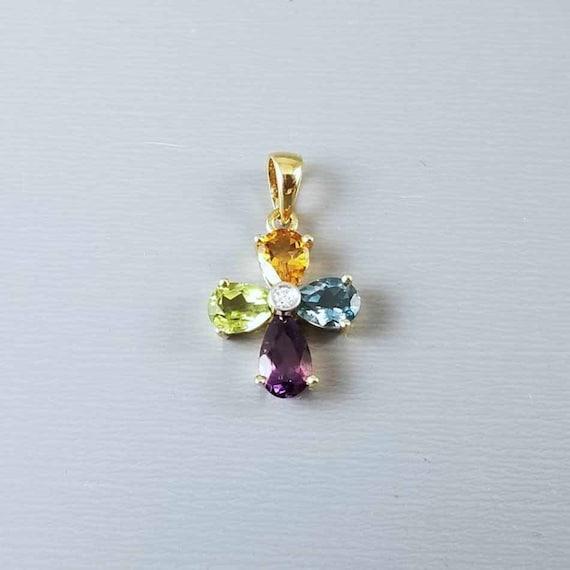 Modern contemporary 14k gold blue topaz, golden citrine, green peridot, purple amethyst, diamond cross pendant charm for necklace no chain