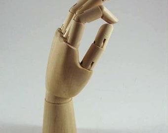 Wooden HAND Mannequin Manikin Display MEDIUM 10 inches - One New