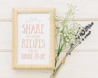 Bridal Shower Recipe Sign Printable