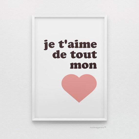 Je T Aime De Tout Mon Coeur Vivero Francés Arte Imprimible Descarga De Arte Digital 8 X 10 Tamaños De Impresión Corazón Rosa