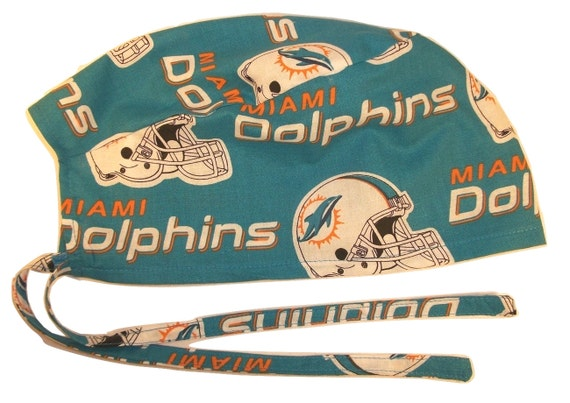 43282227214 Mens Surgical Scrub Hat Handmade in the USA Miami Dolphins Cotton Fabric  Nurse Cap Tie Back Doctor ER Chemo Surgery Skull