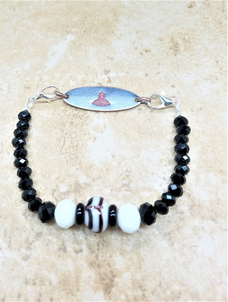 Medical ID Bracelet  Medical Alert ID Tag Bracelet  LAMPWORK Heart Beat  Interchangeable Strand for Medical Tag or Plate