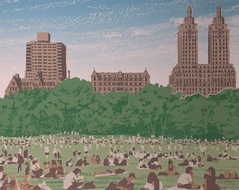 Central Park Monoprint