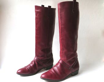 19b92276e 80s vintage Etienne Aigner Oxblood Leather Riding Boots / Equestrian  Hipster Indie Preppy Leather Riding Boots