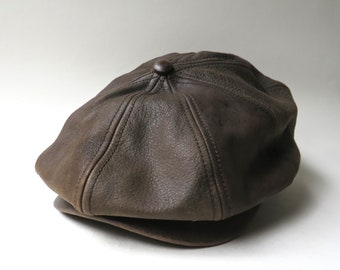 dae485ea vintage Dark Brown Leather Cap / Scala Classico Dark Brown Leather Hat / Brown  Leather Baseball Cap / Brown Leather Driving Cap