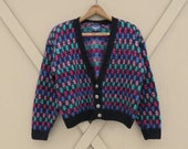 80s 90s vintage Oversized Colorful Patterned Cropped Mohair Blend Knit Cardigan Sweater