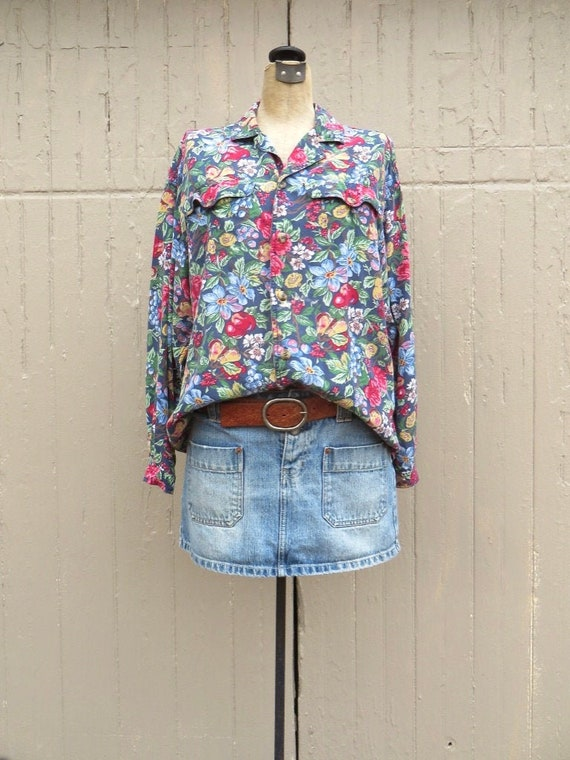 80s vintage LizWear Colorful Botanical Floral and