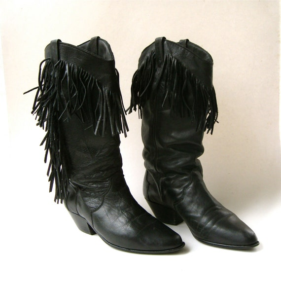 80s vintage Dingo Black Leather Fringed Western Co