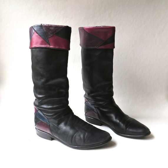80s vintage Black Leather Slouchy Riding Boots wit