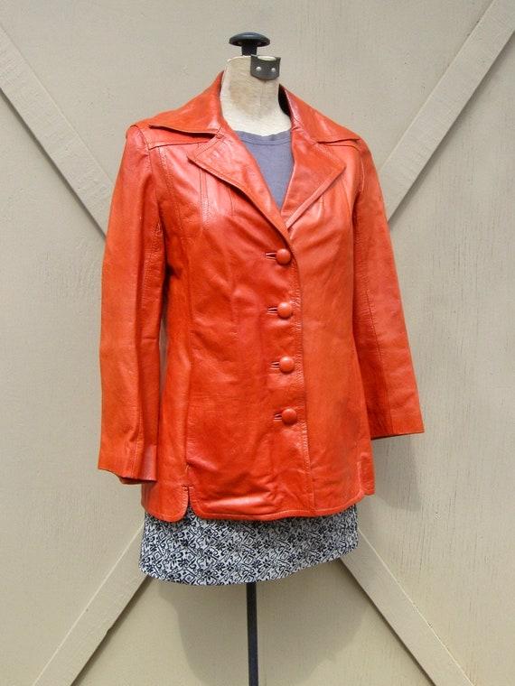 70s vintage Rodero Rust Orange Spanish Leather Ja… - image 2