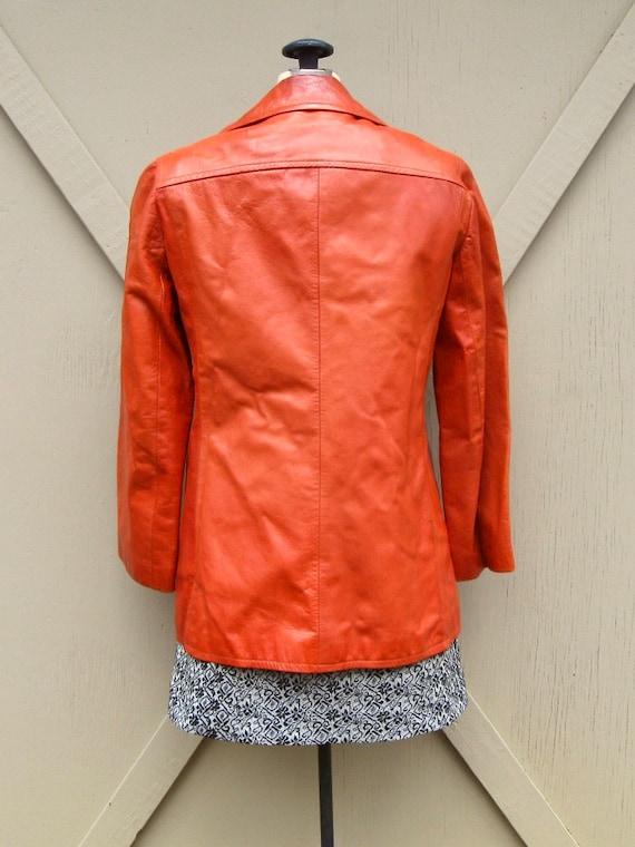 70s vintage Rodero Rust Orange Spanish Leather Ja… - image 6