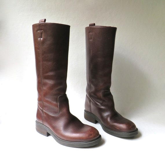 Vintage Tall Brown Leather Boots Boho