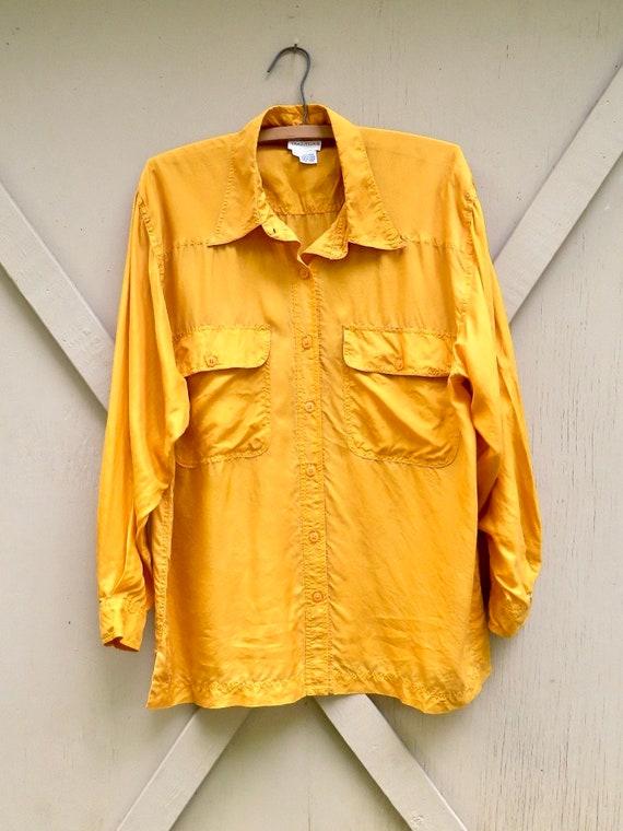 80s/90s vintage Vibrant Marigold Yellow Button Do… - image 8