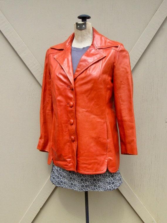 70s vintage Rodero Rust Orange Spanish Leather Ja… - image 4