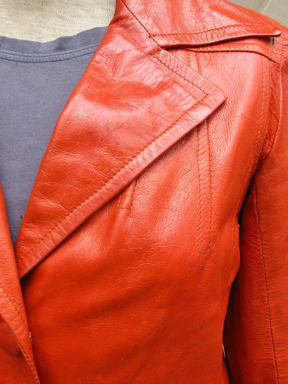 70s vintage Rodero Rust Orange Spanish Leather Ja… - image 8