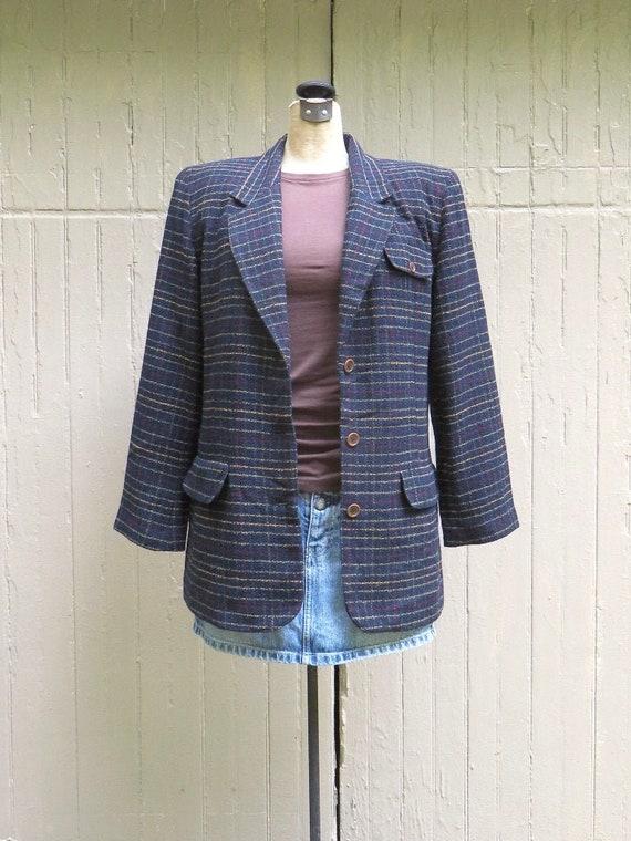 80s vintage Lizsport Checked Dark Navy Blue Woolen