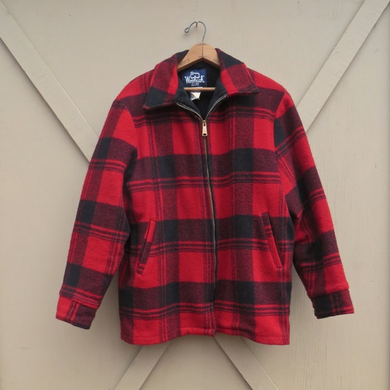 vintage Woolrich Red Plaid Woolen Field Coat / Out