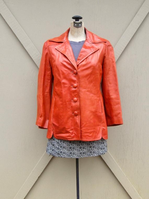 70s vintage Rodero Rust Orange Spanish Leather Ja… - image 1