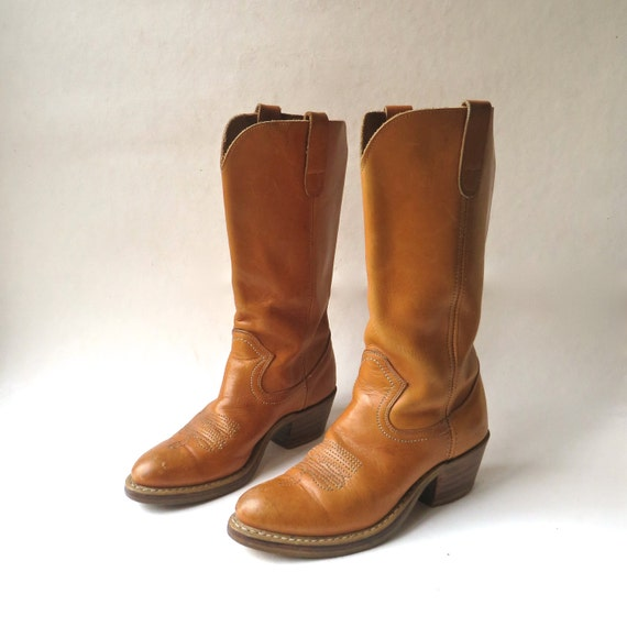 70s vintage Thom McAn Caramel Brown Leather Cowgir