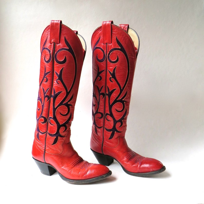 f2900857311 Larry Mahan vintage Red Leather Cowboy Boots with Purple Suede Inlay /  Handcrafted in El Paso, Texas / Cowgirl Western Rodeo Southwestern