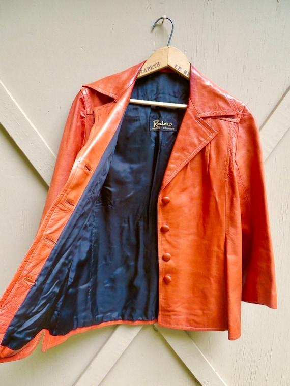 70s vintage Rodero Rust Orange Spanish Leather Ja… - image 10