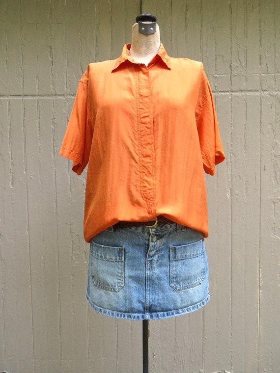 80s vintage Oversized Orange Short Sleeve Sheer Si