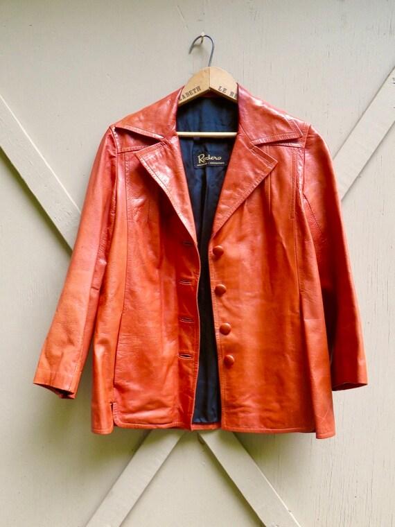 70s vintage Rodero Rust Orange Spanish Leather Ja… - image 9