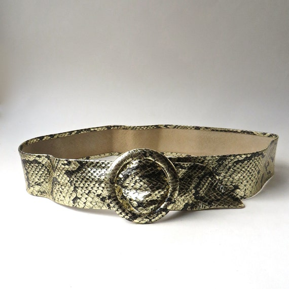 80s vintage Metallic Gold Reptile Embossed Leather