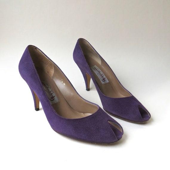 80s vintage Pappagallo Purple Suede Peep Toe Pumps