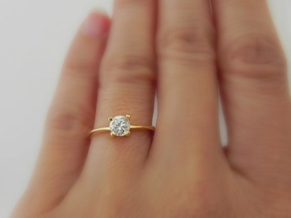 Gold Cz Solitaire Ring Diamond Ring Cubic Zirconia Etsy