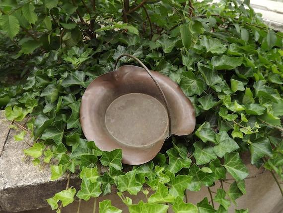 arts and crafts vintage copper basket handles bowl fruit bowl etsy