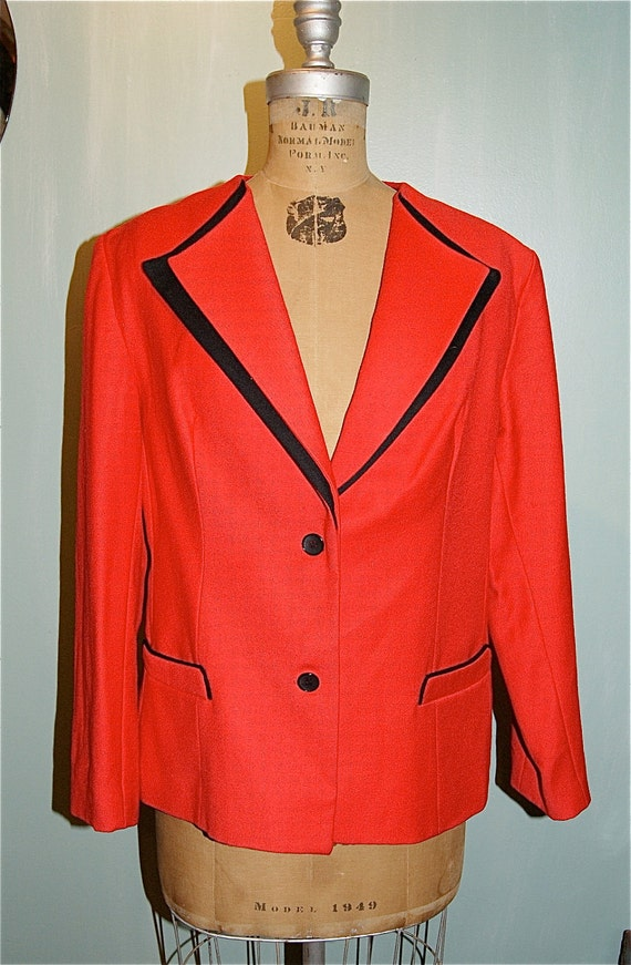 SALE Classic Vintage Red and Black Wool Blazer