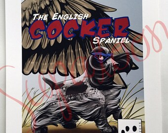 ENGLISH COCKER SPANIEL Comic Giclée Print