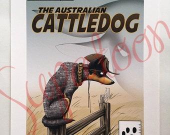 AUSTRALIAN CATTLE DOG Comic Giclée Print