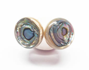 Rainbow bulls-eye abalone stud sterling silver earrings minimalist jewelry with smooth 12mm tan with rainbow sheen gemstones E16027