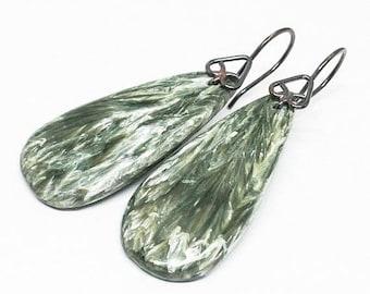 ON SALE Seraphinite Gemstones, Oxidized Sterling Silver Dangle Drop Earrings, Dark Forest Green Earrings, Free Shipping, Teardrop Earrings,