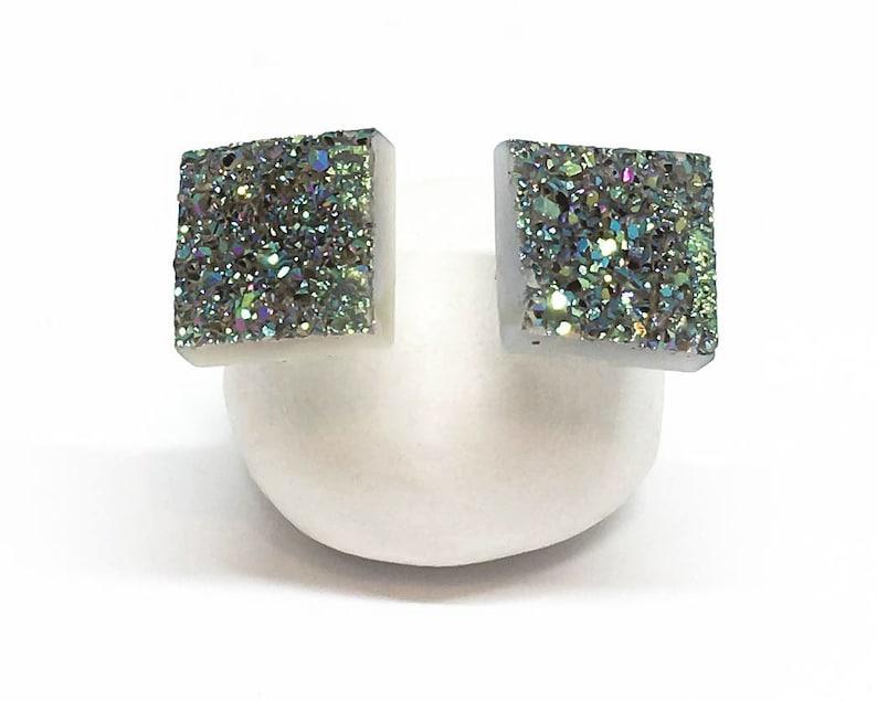 Sterling Silver 7mm Square Opal Gemstone Stud Earrings Periwinkle Green Fashion Jewellery
