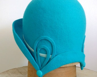 """Turquoise Wool Felt Cloche - Art Deco Hat - Size 22.5"""" - Ready To Ship"""