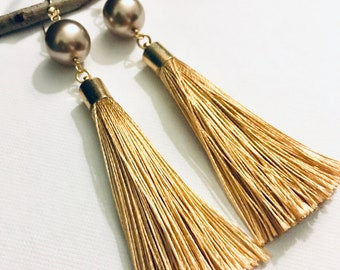 Gold Filled Pale Bronze Glass Pearl Tassel Earrings