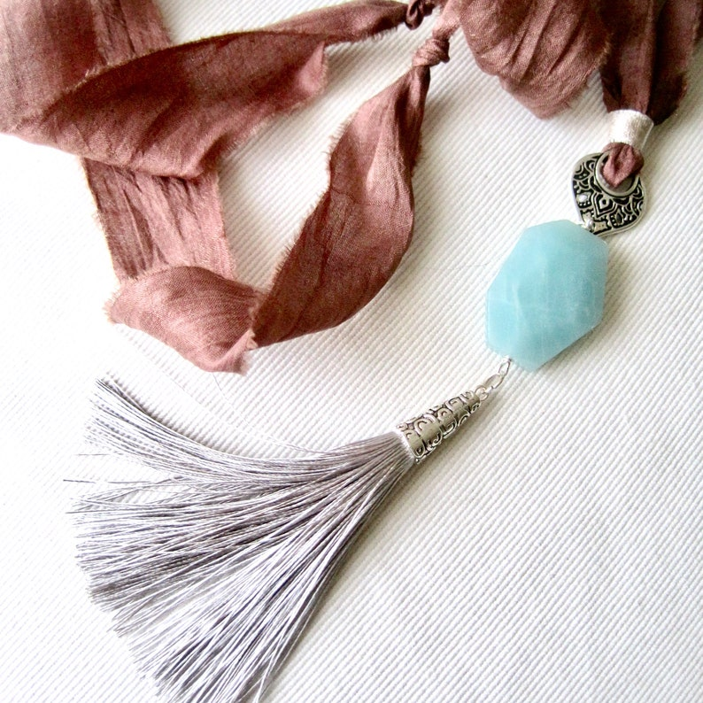Amazonite & Silk Tassel Necklace image 0