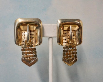 Vintage Crown Trifari Belt Buckle Earrings Sale Textured Gold Tone Finish Clip On Earrings So Cool