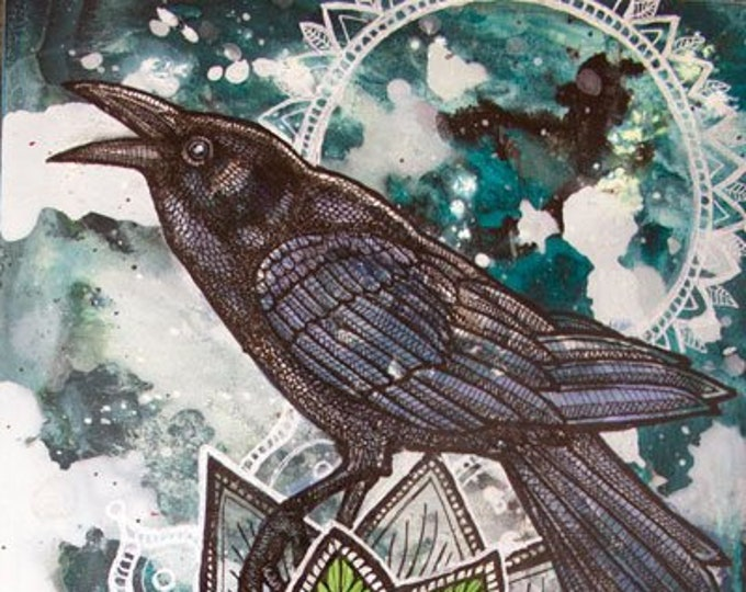 Snow Crows Animal Art Print by Lynnette Shelley